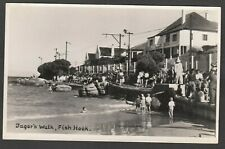 Postcard Fish Hoek in Cape Town South Africa view of Jager's Walk dated 1944 RP