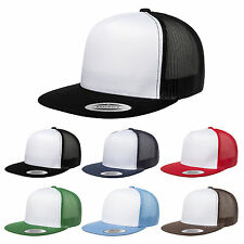 NEW PLAIN TRUCKER MESH SNAPBACK BASEBALL CAP FLEXFIT ERA FITTED FLAT PEAK HAT