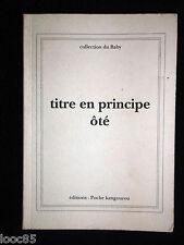 Titre en principe ôté - Jacques AMPS - 1993 EO n°14/100 - EA envoi