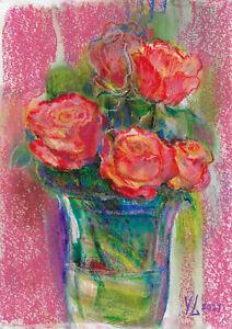 original drawing A4 163YL art samovar Pastel roses in a vase Signed 2021