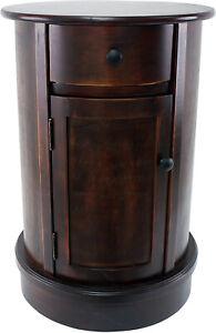 Bar Table Round Brown Wood Storage Cabinet Shelf Wine Home Mini Cupboard Antique