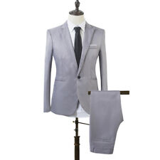 Mens Blazer Suit Slim Fit Tuxedo Coat + Pants Trousers Formal Wedding Groom UK