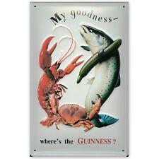 Guinness Crab Lobster Fish embossed steel sign 300mm x 200mm (hi)