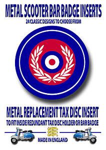 SCOOTER METAL BAR BADGE, METAL REPLACEMENT TAX DISC INSERT,LAMBRETTA (CODE 2)