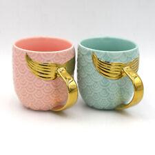 Golden Mermaid Tail Ceramic Mug with Handle Creative Coffee Milk Fishtail Cup