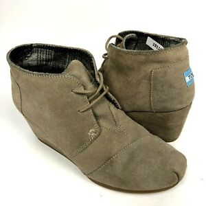 Toms womens Desert boots taupe Kala Gray Suede Ankle 8.5 wedge lace up 300413