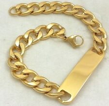 Real 18k Gold Clad Stainless Steel Cuban Curb Link Chain ID Bracelet 10mm 8""