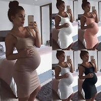 Pregnant Womens Summer Sleeveless Maternity Nursing Vest Mini Dress Plus Size