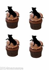 24 precut staffordshire bull terrier noir debout comestible cupcake toppers
