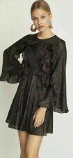 NWT Womens BCBG Maxazria Dress Black Metallic Stripe Ruffle Bell Sleeves Size S