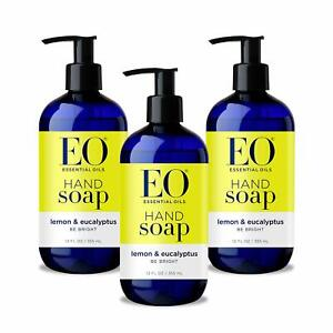 3 pack EO Botanical Liquid Hand Soap 12oz each Lemon & Eucalyptus Scent