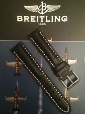 Genuine Leather 24mm Heavy Padded Alligator Strap For Breitling Watches Black