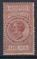 1920 MARCHE DA BOLLO VIDIMAZIONE PASSAPORTI 2 LIRE G.I MNH** FRESCHISSIMA