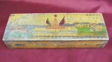 1960s VINTAGE RUSSIA & BULGARIA STUDENT PENCILS WOODEN ENGRAVED BOX