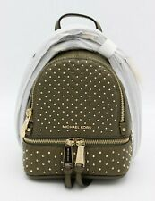 NWT MICHAEL Michael Kors Rhea Mini Gold Studded Green Leather Backpack Bag New