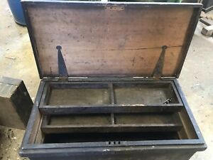 Large Vintage Wooden Carpenters Tool Box Chest Rustic Industrial