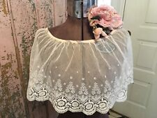 Lovely Antique French Victorian Tambour Lace Ruffled Collar Cotton Netting #B2