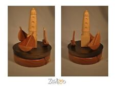 Musical box carousel, lighthouse and sailboats Merry-go-rounds Wooden decoration