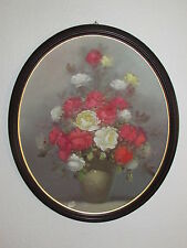 Large Oval Vintage Original Oil Painting On Canvas / Board ' Roses '