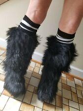 Black 70's Vintage Italian Yeti Boots  Goat Fur Apres After Ski Furry sz 8.5 , 9