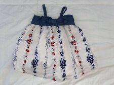 Gap Baby Girls 6-12 Month Flower Blue/white Dress Spaghetti Strap