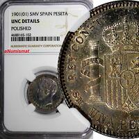 Spain Alfonso XIII SILVER 1901 (01) SMV Peseta NGC UNC DETAILS Toning KM# 706