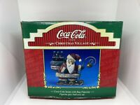 Coca Cola Santa 1998 Standing on Sleigh Bell Christmas Village Kurt Adler
