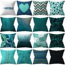"Set of two Teal Blue Cushion Covers Collection 17.7"" / 45cm Case Sofa Bedding"