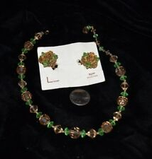 "Vtg LISNER Demi Parure Necklace Clip Earrings Cut Crystal Green/Brown 15"" Signed"