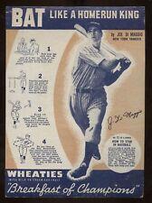 Set Breakup: 1937 Wheaties, series 6, #11 Joe DiMaggio