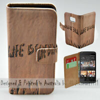 For HTC Series Mobile Phone - Life is Good Sand Print Wallet Phone Case Cover