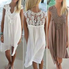 Womens Casual Chiffon Lace Ladies Sleeveless Summer Beach Swing Mini Sun Dress