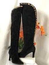 Stuart Weitzman Leopard Print Black Suede Over The Knee High Heel Boots US 7M