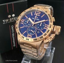 TW Steel Mens Rose Gold Canteen Bracelet Chronograph Watch CB183 Brand New