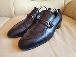 Gucci Mens Shoes Black Leather Loafers UK 10.5   US 11.5    EU 44.5  Vintage