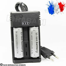 2 PILES ACCU RECHARGEABLE 18650 3.7v 3200mAh BATTERY BATTERIE + CHARGEUR RS-93
