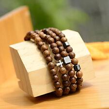 6MM Wood Hematite Cross Healing Balance Bracelets Men's Women Charm Bangle