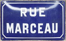 Old blue French enamel steel street sign plate road name plaque Marceau Burgundy