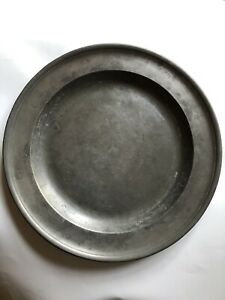 Antique 18th Century Robert Bush CO London Pewter 13 1/2 inch  Charger Hallmarks