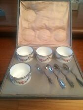 Antique set of 4 salt cellars ( Sevres ) with silver spoons Koch & Bergfeld