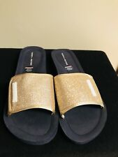 Tommy Hilfiger Womens Flip Flops Gold Glitter Sandals Slides Beach Swim 8M