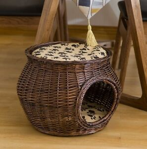 M Size Handmade Wicker Basket Cat Bed Cave Dog Kitten House Pet Rattan Furniture