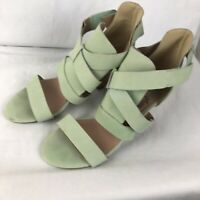 Faryl Robin Green High Block Heel Sandals Size 8 Pastel Mint