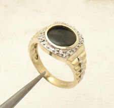 Size 10 Men's Black Onyx CZ Rlx Style Ring Real Solid 10K Yellow White Gold