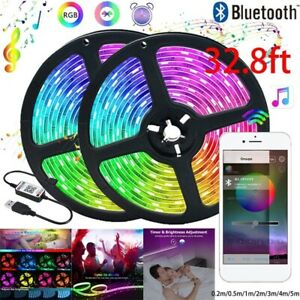 32.8FT SMD 2835 LED Light Strip Bluetooth APP Control Remote Music Flexible