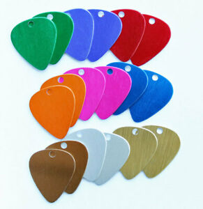 18 Guitar Pick Stamping Blanks Assorted Anodized Aluminum - 28mm x 25mm - MT160