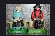 Amish Man and Woman Cast Iron Bookends 1930's