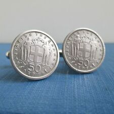 GREECE Coin Cuff Links, Repurposed Vintage Greek 50 Lepta Silver Tone Coins