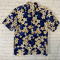 Vtg Royal Hawaiian Creations Blue Floral Aloha Shirt Mens XL Made in Hawaii EUC