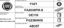 114/1 KIT FILTRI TAGLIANDO FIAT MULTIPLA 1.9 JTD KW 85 CV 115 FINO AL 2004